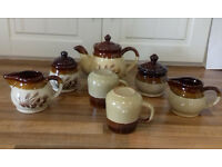 teapot 2 cups with 2 matching sugar bowl & 2 milk jugs £9 also coffee pot & matching sugar bowl £5