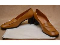 Escada, ladies 2 inch block heels, size 38, dark beige leather, never worn, made in Italy, cheap £20