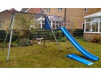 TP giant double swing frame with 1 swing, climbing extension, slide and slide extension