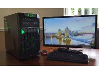 Fast PC Computer Tower Intel Core 2 Quad 4GB RAM 320GB HDD Win 7 Plus 21in TV Screen