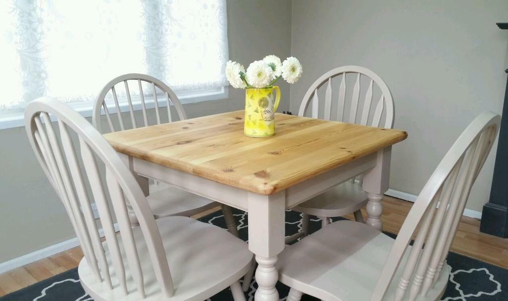 small pine farmhouse table and 4 windsor chairs in swanley kent