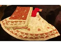 BEAUTIFUL GOLD AND RED SILK WEDDING SAREE. HAND STITCHED. NEVER WORN