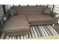 Astra charcoal grey left hand corner chaise sofa NEW RRP £399