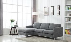 Weekend Special! Contemporary & Elegant  2 Pc Gray Fabric Sectional w/Chrome feet