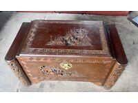 Solid antique wooden antique chest