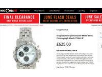 Krug Baumen Sportmaster Mens Watch White Face Blue Dials New Battery RRP £625