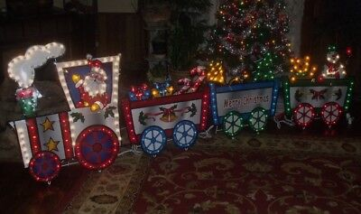 MERRY CHRISTMAS OUTDOOR LIGHTED ANIMATED MOTION LIGHTS SANTA TRAIN SET SIGN 9.8'