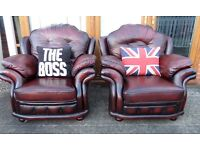 Fantastic Pair of Chesterfield Vintage High Back Chairs Oxblood Red Leather - UK Delivery
