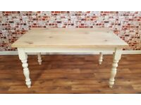 European Oak Dining Kitchen Chunky Table Natural Farmhouse Finish Full Stave- Any Size