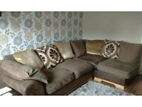 Dfs fabric corner sofa and footstool