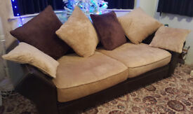 Large 2 seater quality leather and fabric sofa, seats 3