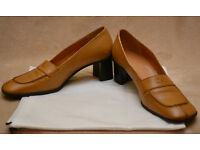 Escada, ladies 2 inch block heels, size 38, dark beige leather, never worn, made in Italy, cheap £25