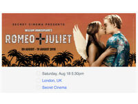 18/08 Ticket secret cinema William Shakespeare's Romeo + Juliet