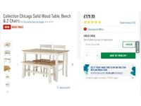 Solid Wood Dinning Table with Bench and 2 Chairs
