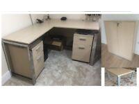 Designer office Light Oak Furniture ( Desk + 2 X Pedestals + Table + Cabinet ) costed £ 4000