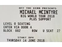 Michael McIntyre's Big World Tour 2018 2 Tickets 14th June