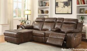 Early Spring Sale!  Reclining 4 Pc Leather gel Sectional with Push back Reclining Chaise Blow Out