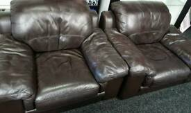 Large brown leather 3 or 4 seater sofa and 2 chairs