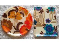 VINTAGE 1960 1970 Trays Retro Flower Power Fibreglass Purple Blue Turquoise Orange Brown Pair Floral