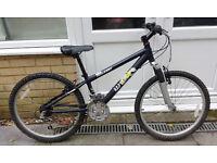 Raleigh Raptor mountain bike: 24-inch wheels, 21 gears, aluminium frame, ages 8 upwards