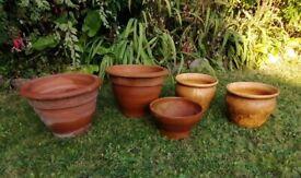 Five Vintage Terracotta Bell Style Pots: 3 Unglazed plus 2 Glazed: