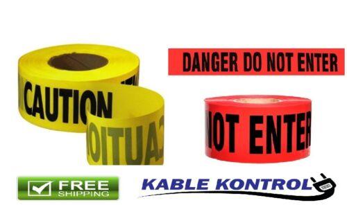 "Kable Kontrol Caution & Danger Tape - 3"" Wide - 328 Feet Rolls"