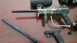 Tippman A5 paintball marker and installed response trigger