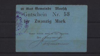 [20634] - NOTGELD MOOSCH (heute: Moosch), Gemeinde, 20 Mark, o. D. (1914), Dießn
