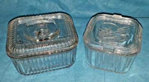 Vintage Ribbed Glass Refrigerator Boxes Food Containers