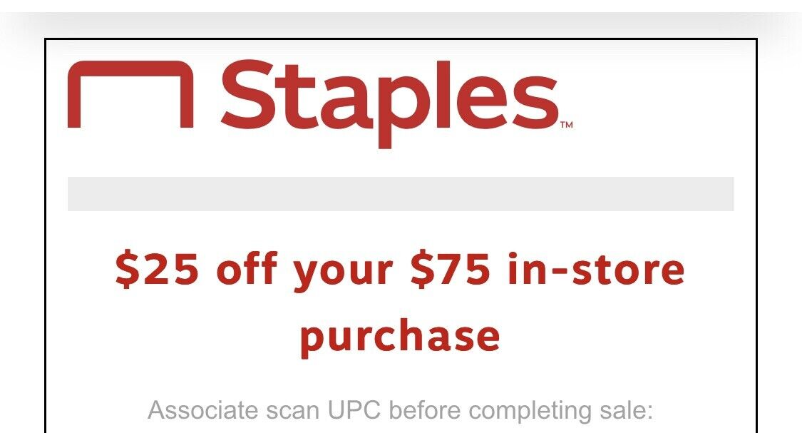 Staples Coupon 25 Off Your Online Order Of 75 Or More - Expires 05/09/2021 - $7.99