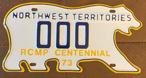 Northwest Territories 1973 RCMP CENTENNIAL SAMPLE License Plate SUPERB # 000