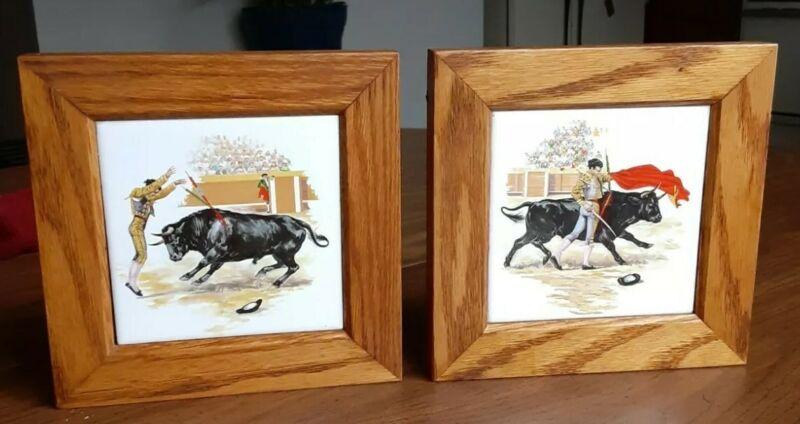 2 Wood Framed Art Tiles Wall Decor Bullfighting Matador Spain