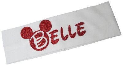 Red Glitter Customizable Cute Disney Minnie Mickey Stretch Headband with Name