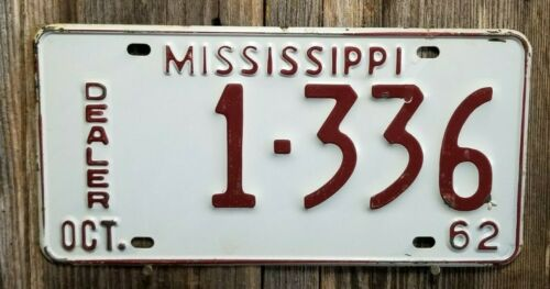 "🐾  1962 MISSISSIPPI ""DEALER"" LICENSE PLATE"