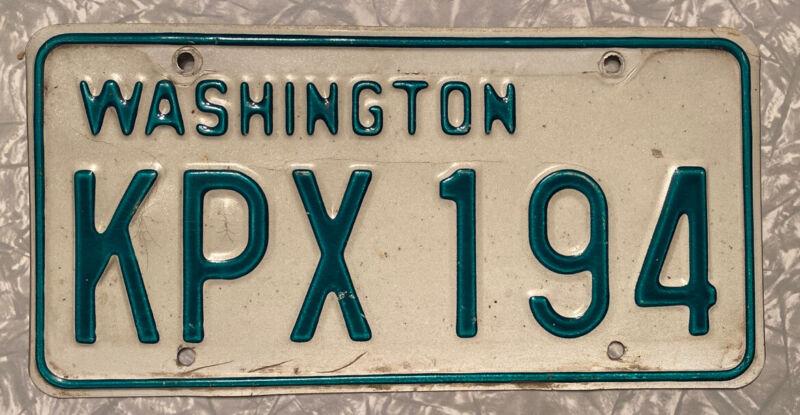 Original 1968-1982 Washington Passenger Vehicle License Plate Single KPX 194