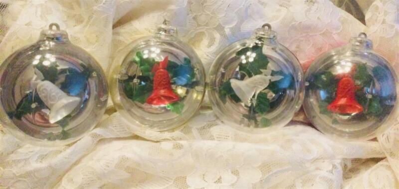 4 Vintage Bradford Diorama Christmas Ornaments