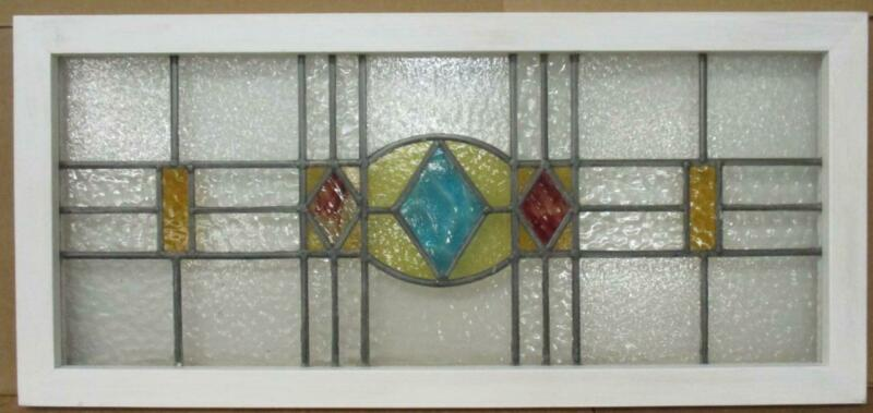 "OLD ENGLISH LEADED STAINED GLASS WINDOW TRANSOM Diamond Design 37.75"" x 17.5"""