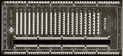 Uni-Safe  Metal UNITRADE Postage Stamp Perforation Gauge with Slot