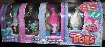 Dreamworks Trolls Holiday Caterbus 8 Figures Poppy Branch Cloud Guy Satin Smidge