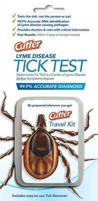 Cutter Lyme Disease Tick Removal Test Kit Dogs Cats Hikers Hunters 3 Day Results