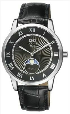 Citizen Qq  119 Mens Moon Phase Silver  Black Dial  Dome Crystal Leather Watch