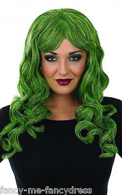 Lockige Halloween Perücke Kostüme (Damen lang grün lockig Verführerin Halloween Perücke Kostüm Verkleidung Zubehör)