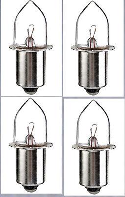 "4X PR2 Miniature PR Base Lamp Bulb 2.38V 0.5A for  ""2D"" Cell"