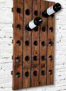 Personalized Wine Rack Rustic Wood Wall Wine Display 6 |Unique Wood Wine Rack