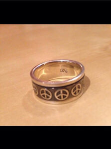 Sterling Silver .925 Stamped Peace Ring