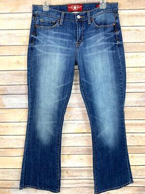 Lucky Brand Womens Jeans Sofia Boot Cut Dark Denim Distressed Size 12 / 31 Ankle Dark Denim Boot-cut Jeans