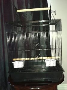 small black bird cage with playtop