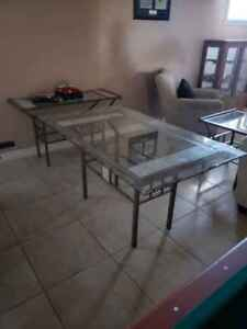 For Sale - Rectangular Glass Dining Table with 6 Chairs