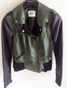Leather Mix Olive Green & Black Jacket