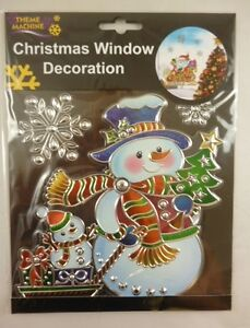 Christmas-Window-Decoration-Sticker-Suncatcher-Snowman-Snowflakes-DP116